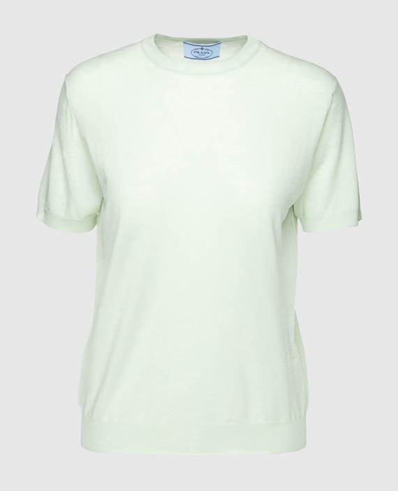 Светло-зеленая футболка из шерсти