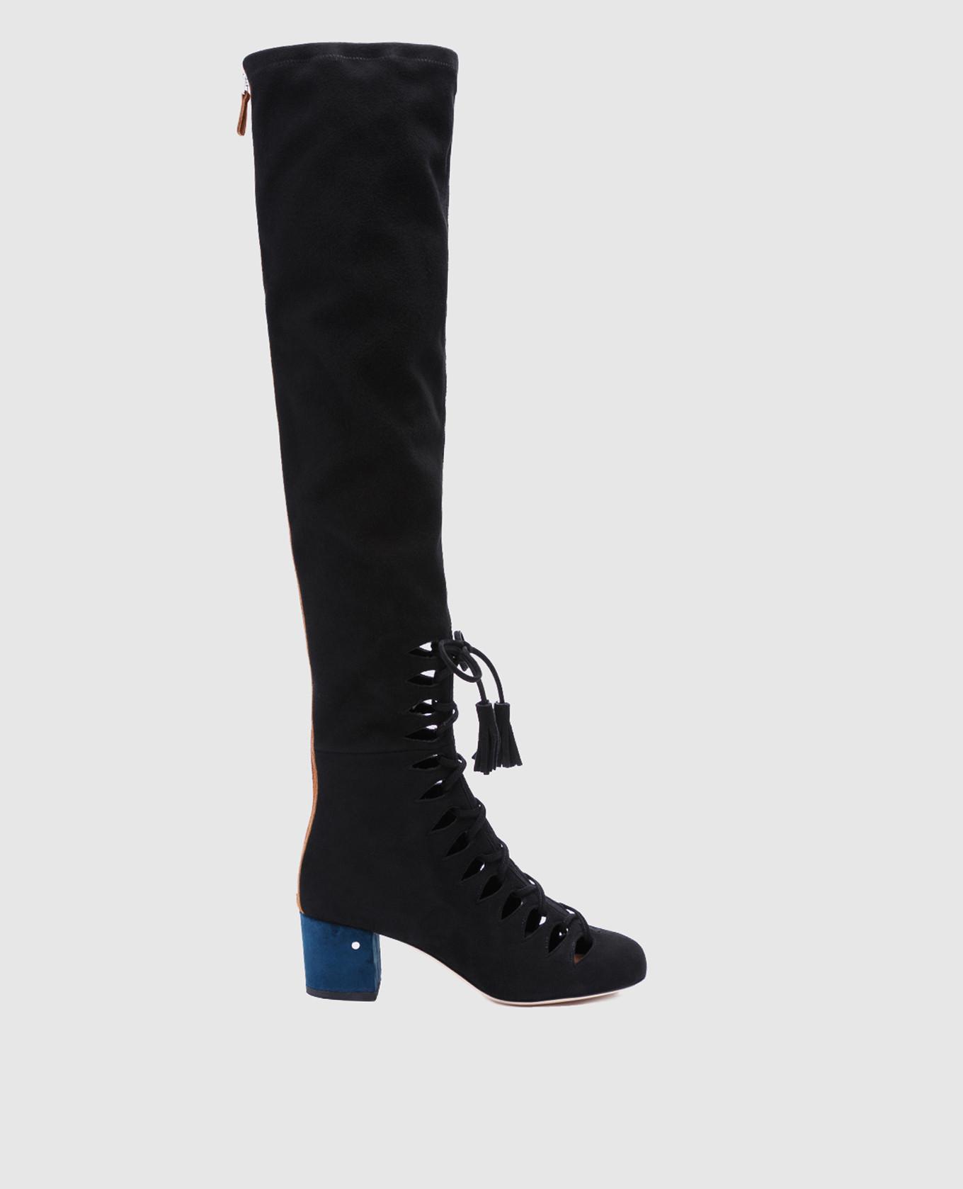 Черные замшевые ботфорты Sue
