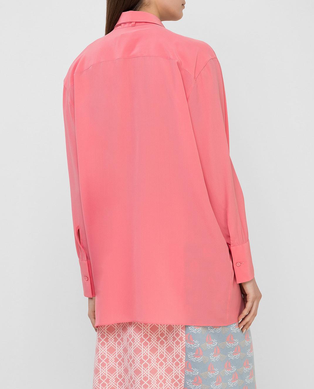 Valentino Коралловая блуза из шелка MB0AB08F21B изображение 4