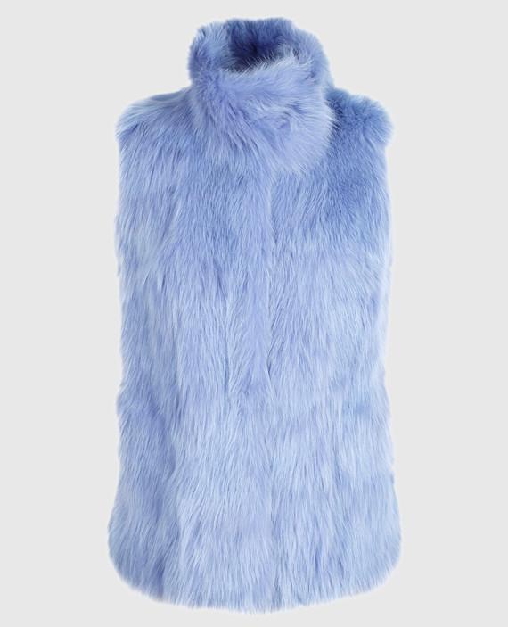 Голубой жилет из меха лисы ручной работы