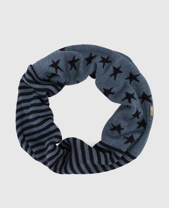 Детский синий шарф-хомут из шерсти