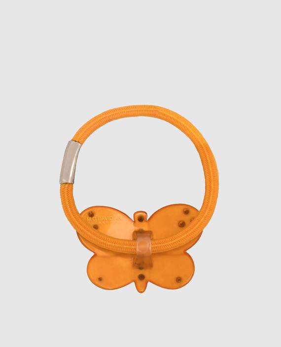 Темно-оранжевая резинка для волос с кристаллами hover