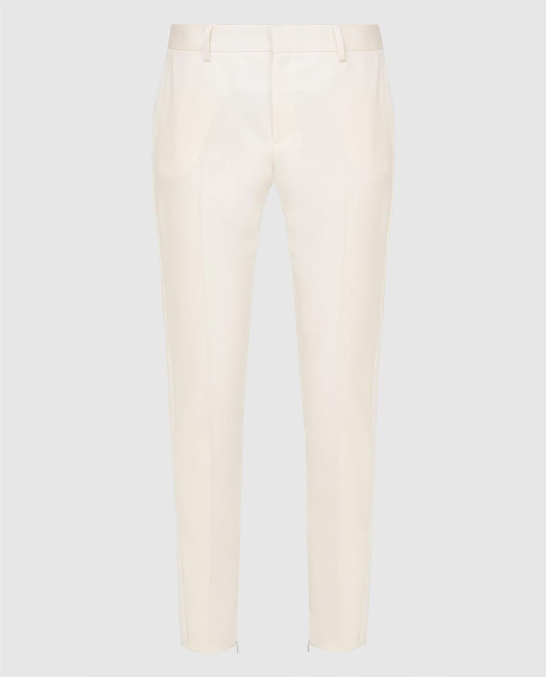 Saint Laurent Светло-бежевые брюки из шерсти 516111
