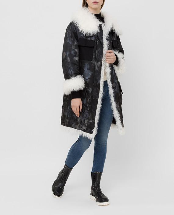 Черная куртка с мехом ламы hover