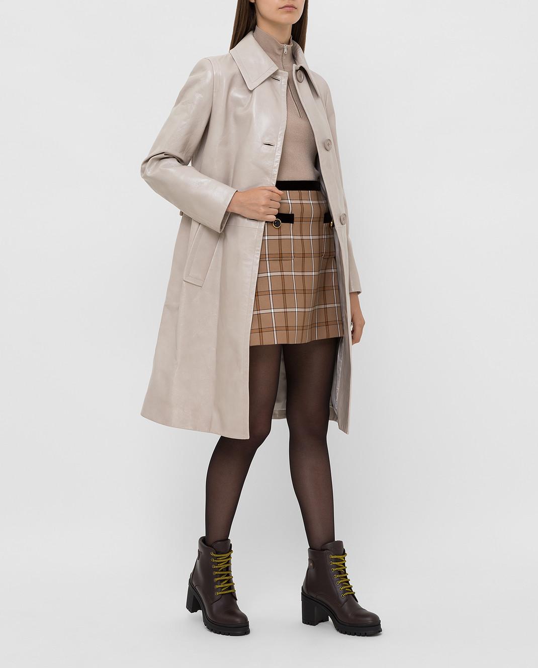 Prada Бежевое кожаное пальто 569031UKQ изображение 2