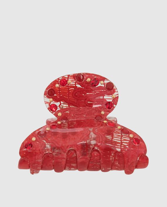 Красная заколка с кристаллами