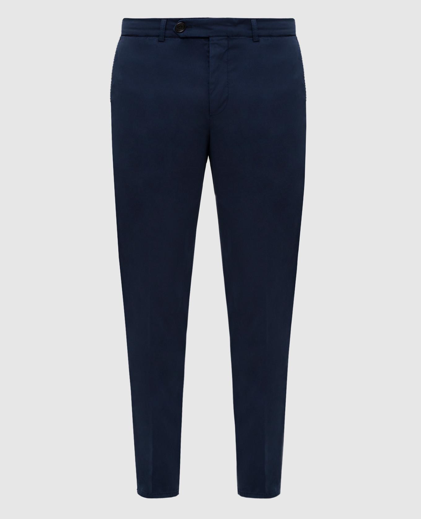 Темно-синие брюки с карманами
