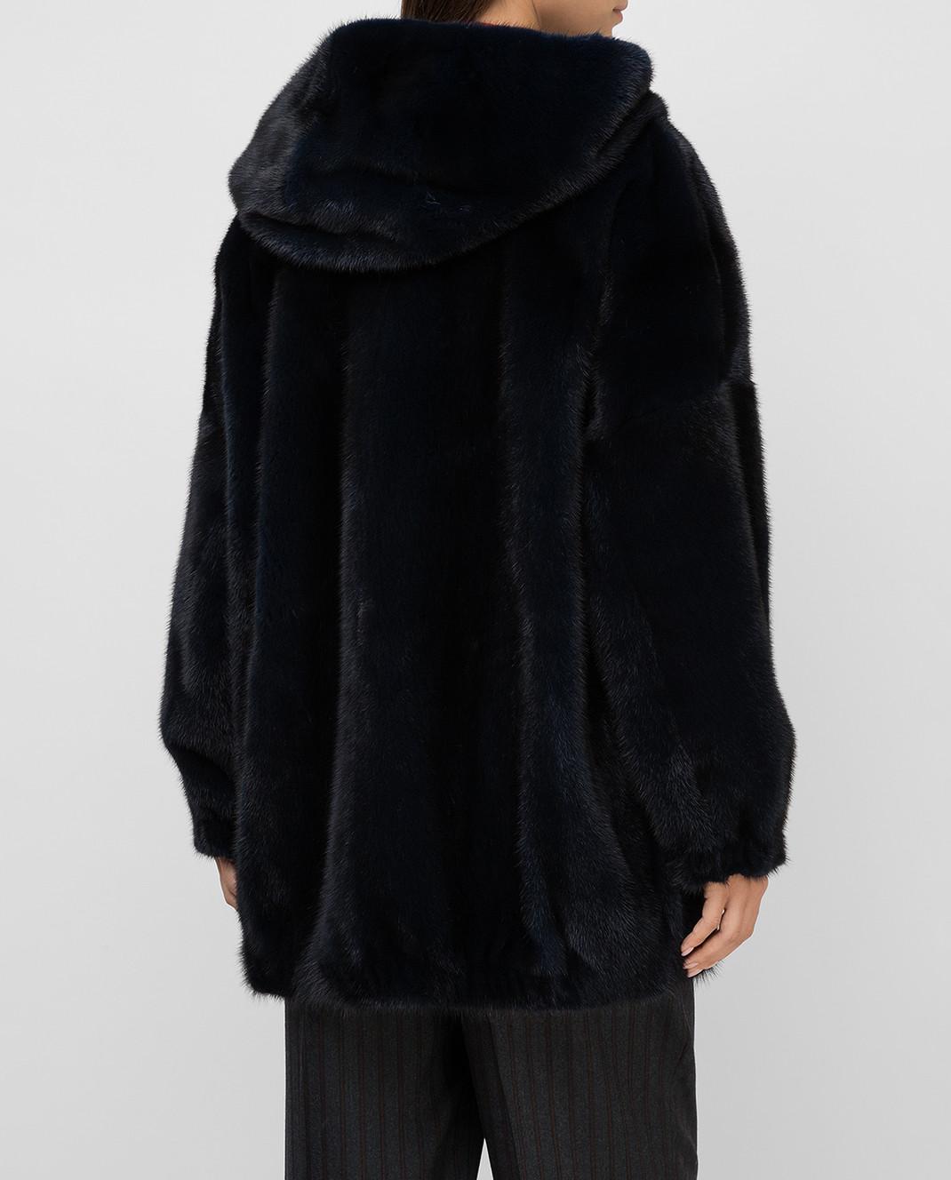 Florence Mode Темно-синяя шуба из меха норки изображение 4