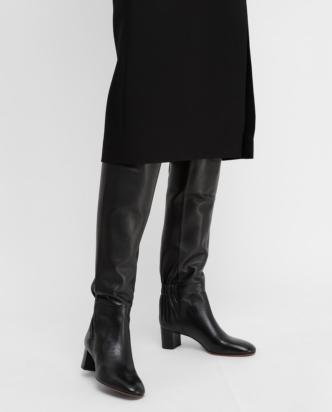 Santoni Черные кожаные сапоги изображение 2