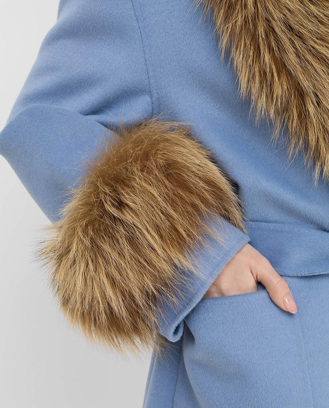 Prada Голубое пальто с мехом лисы изображение 5