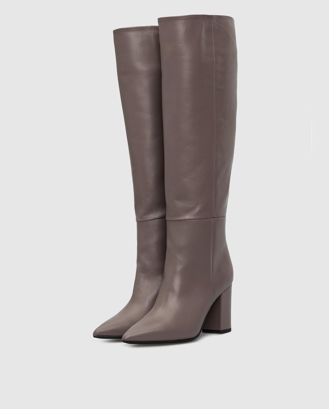 Babe Pay Pls Темно-бежевые кожаные сапоги изображение 3