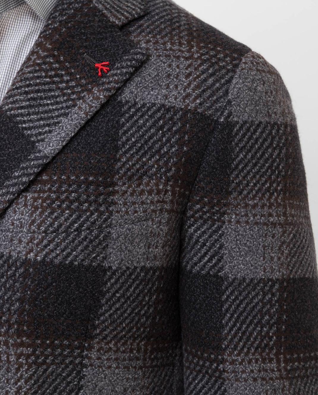 ISAIA Темно-серое пальто из шерсти 00736887340 изображение 5