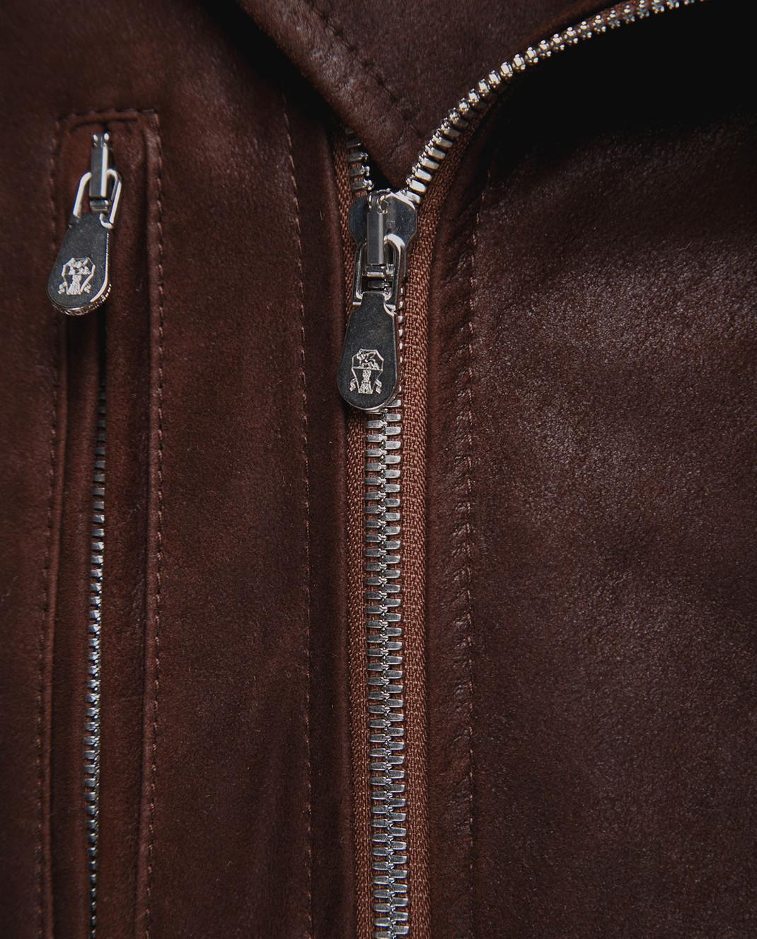 Brunello Cucinelli Коричневая кожаная косуха MPCOU1575 изображение 5