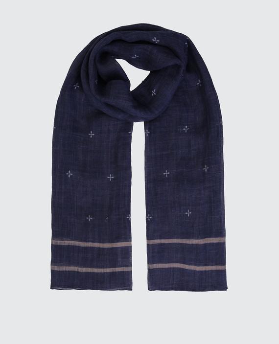 Темно-синий шарф из льна