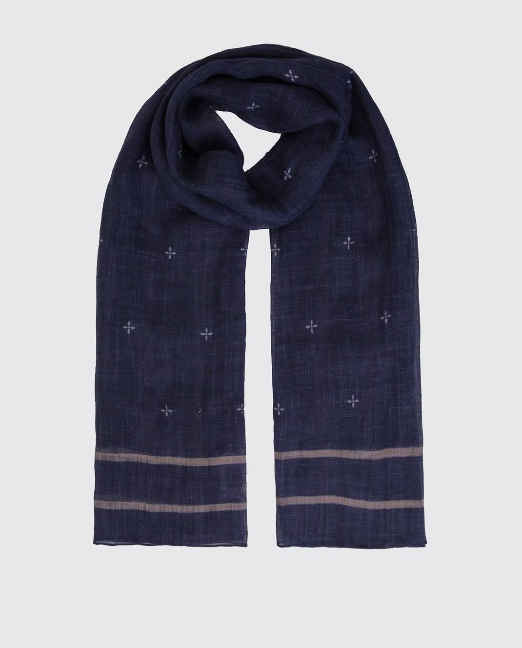 Brunello Cucinelli Темно-синий шарф из льна MSC600AG