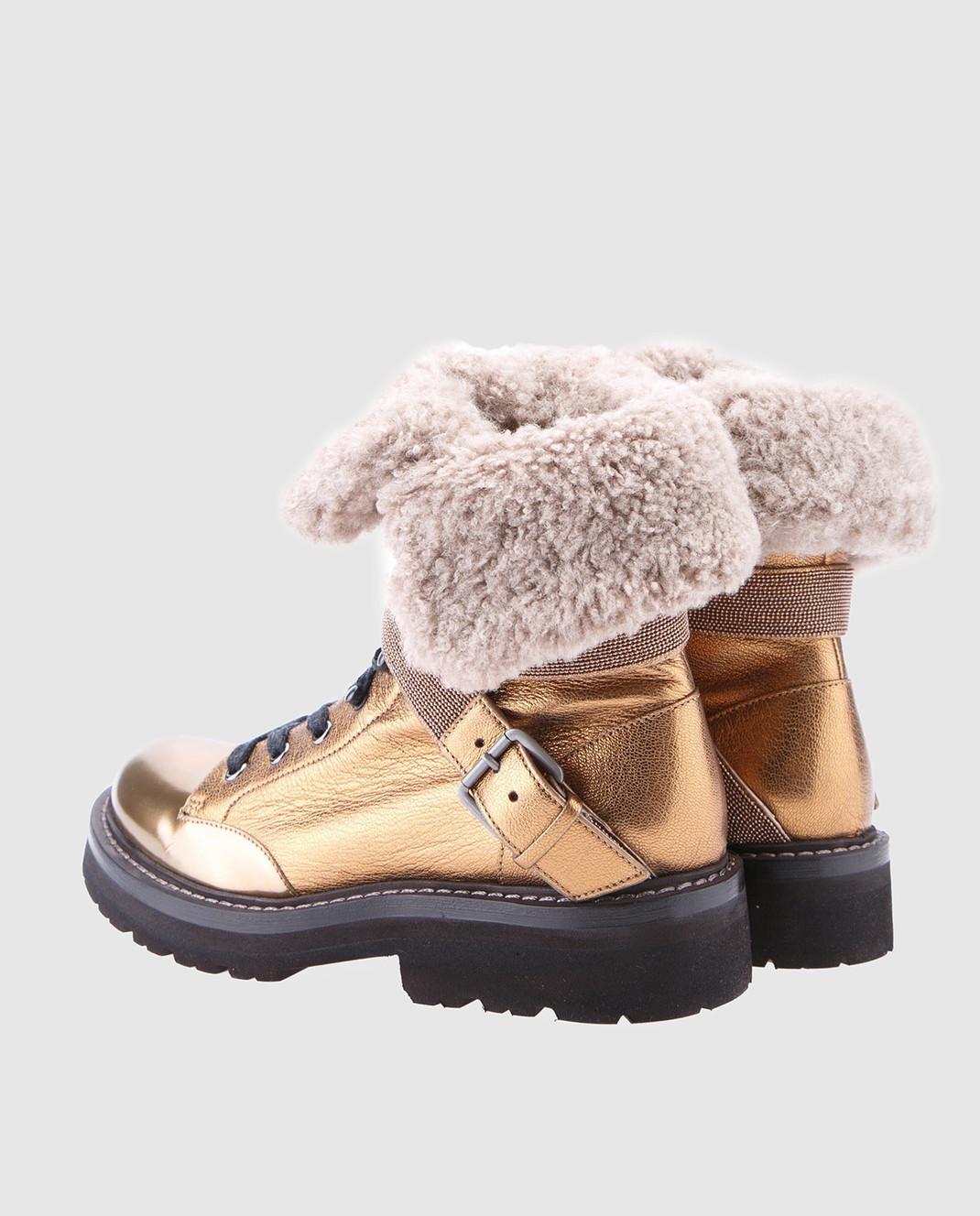 Brunello Cucinelli Золотистые кожаные ботинки MZALG1003 изображение 3