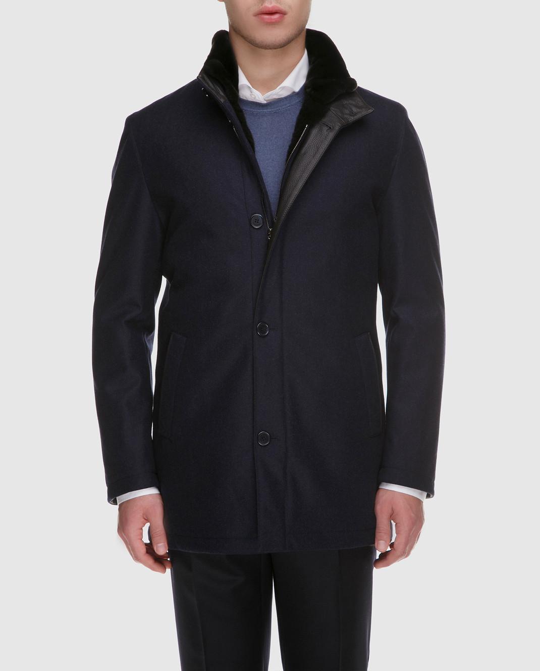 Enrico Mandelli Синяя куртка из шерсти и кашемира на подкладке из меха нутрии A6T762 изображение 3