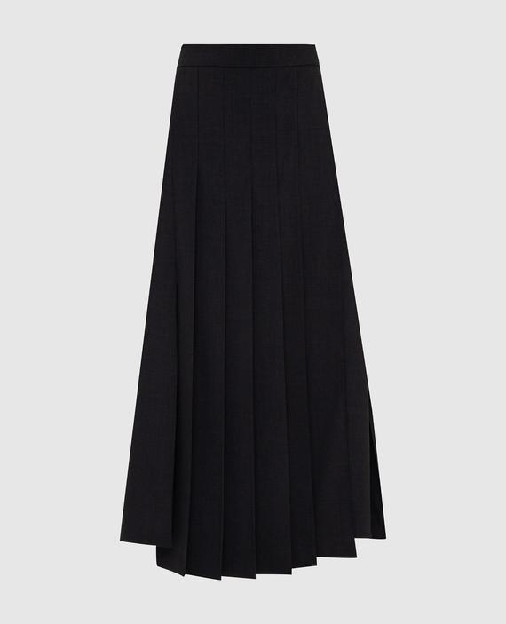 Темно-серая юбка из шерсти