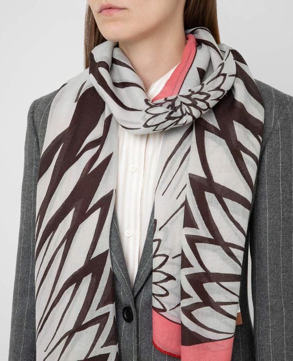 Серый шарф из кашемира и шелка hover