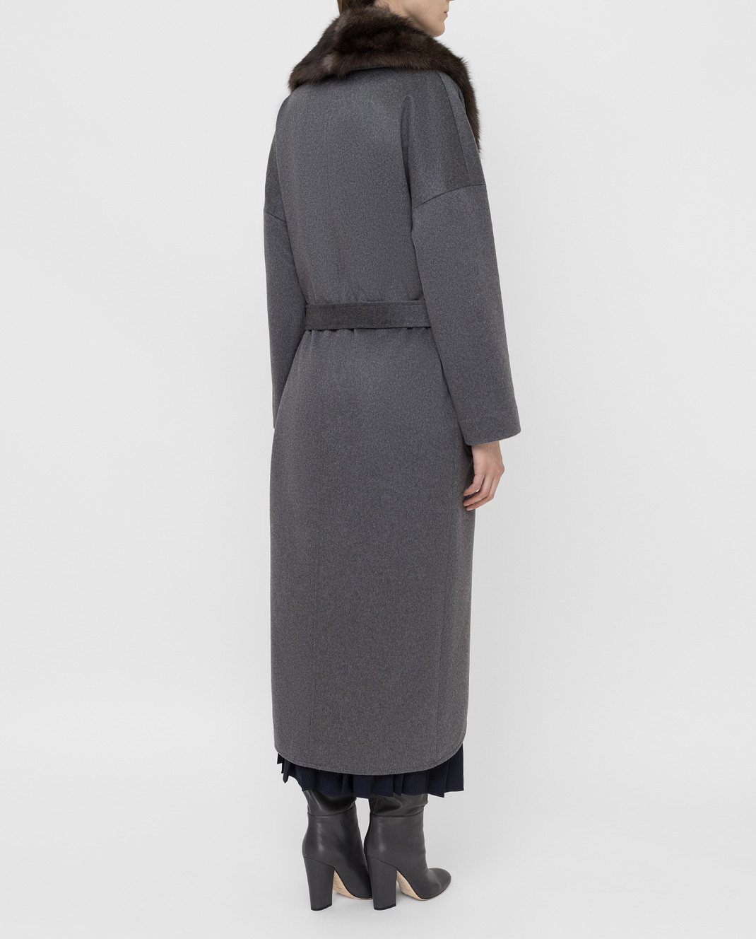Real Furs House Серое пальто из кашемира с мехом соболя изображение 4