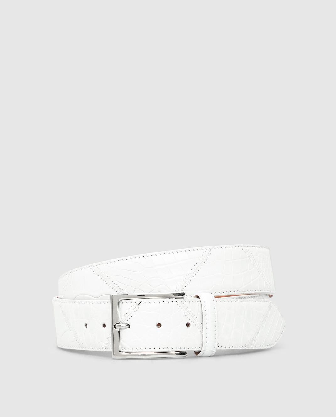 Bochicchio Белый кожаный ремень BELTPATCHWORK