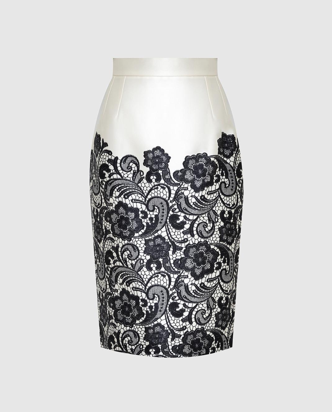 Dolce&Gabbana Светло-бежевая юбка из шелка F4T32TFS1YX