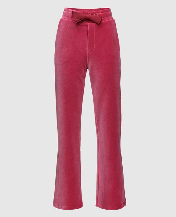 Розовые бархатные брюки