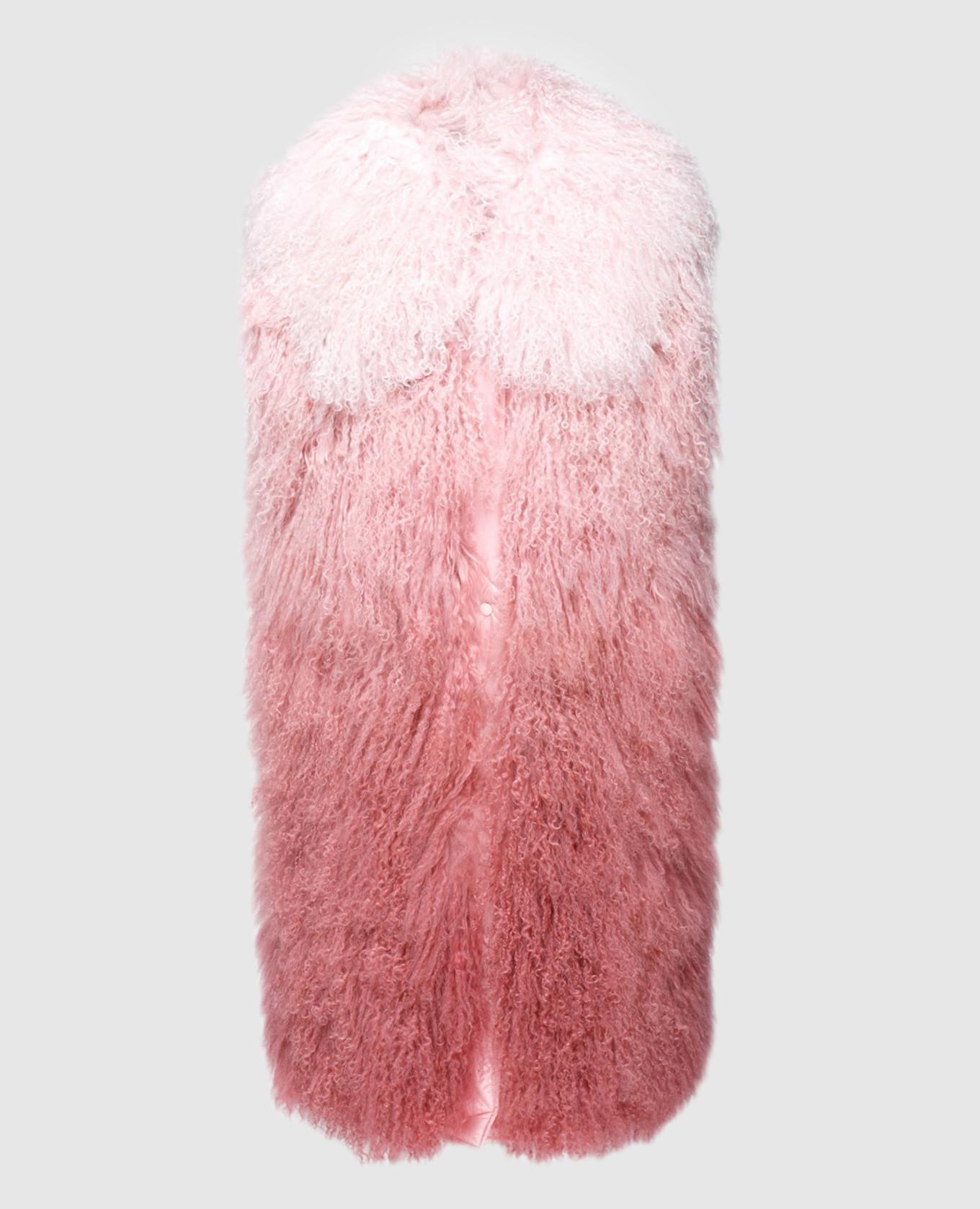 Розовый жилет из меха ягненка