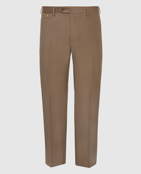 Темно-бежевые брюки из шерсти, кашемира и шелка