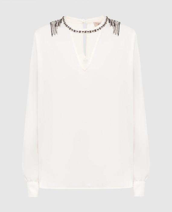 Светло-бежевая блуза с кристаллами