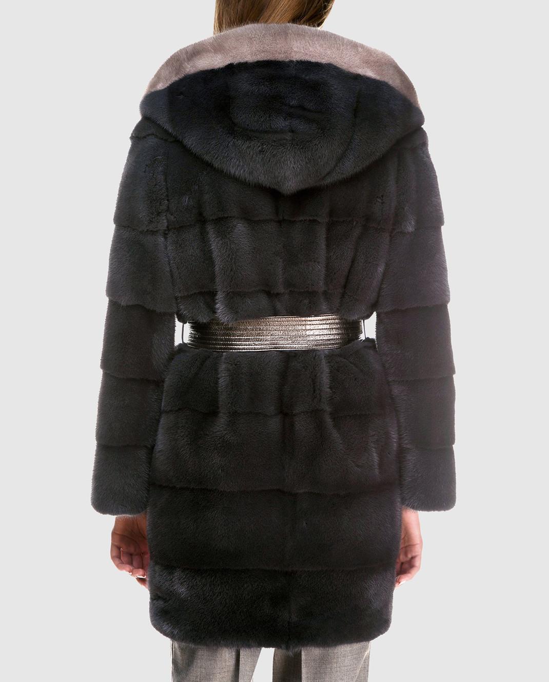 Florence Mode Темно-серая шуба из меха норки с поясом L1827SKYFALL изображение 4