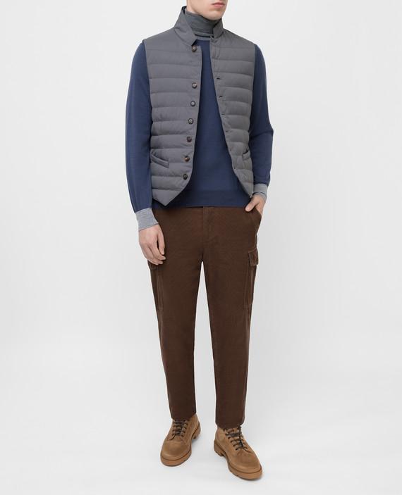 Темно-синий пуловер из шерсти и кашемира hover