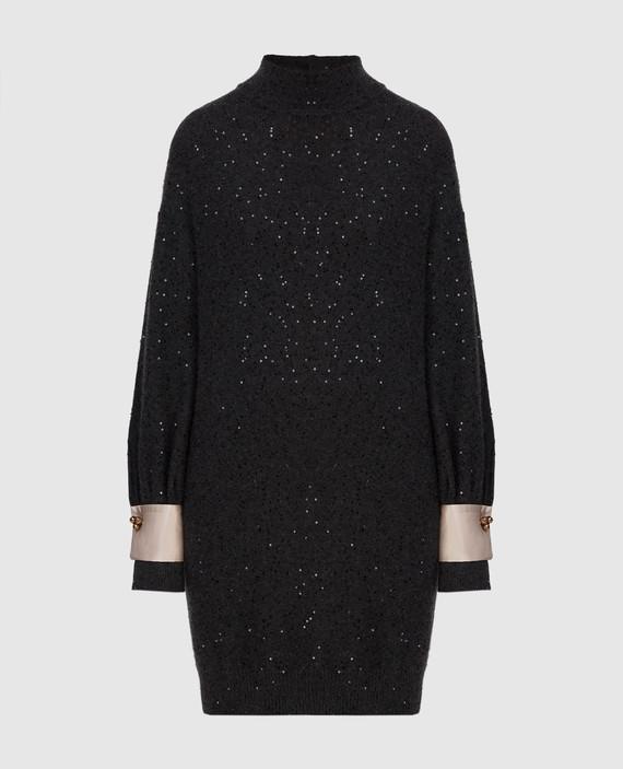 Темно-серое платье из кашемира и шелка