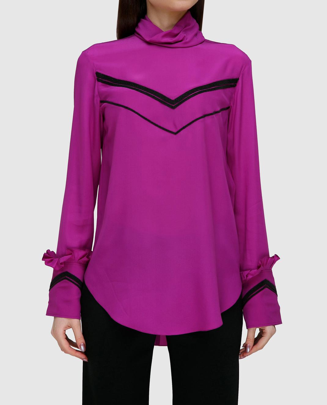 NINA RICCI Розовая блуза из шелка 17PCTO016SE0801 изображение 3