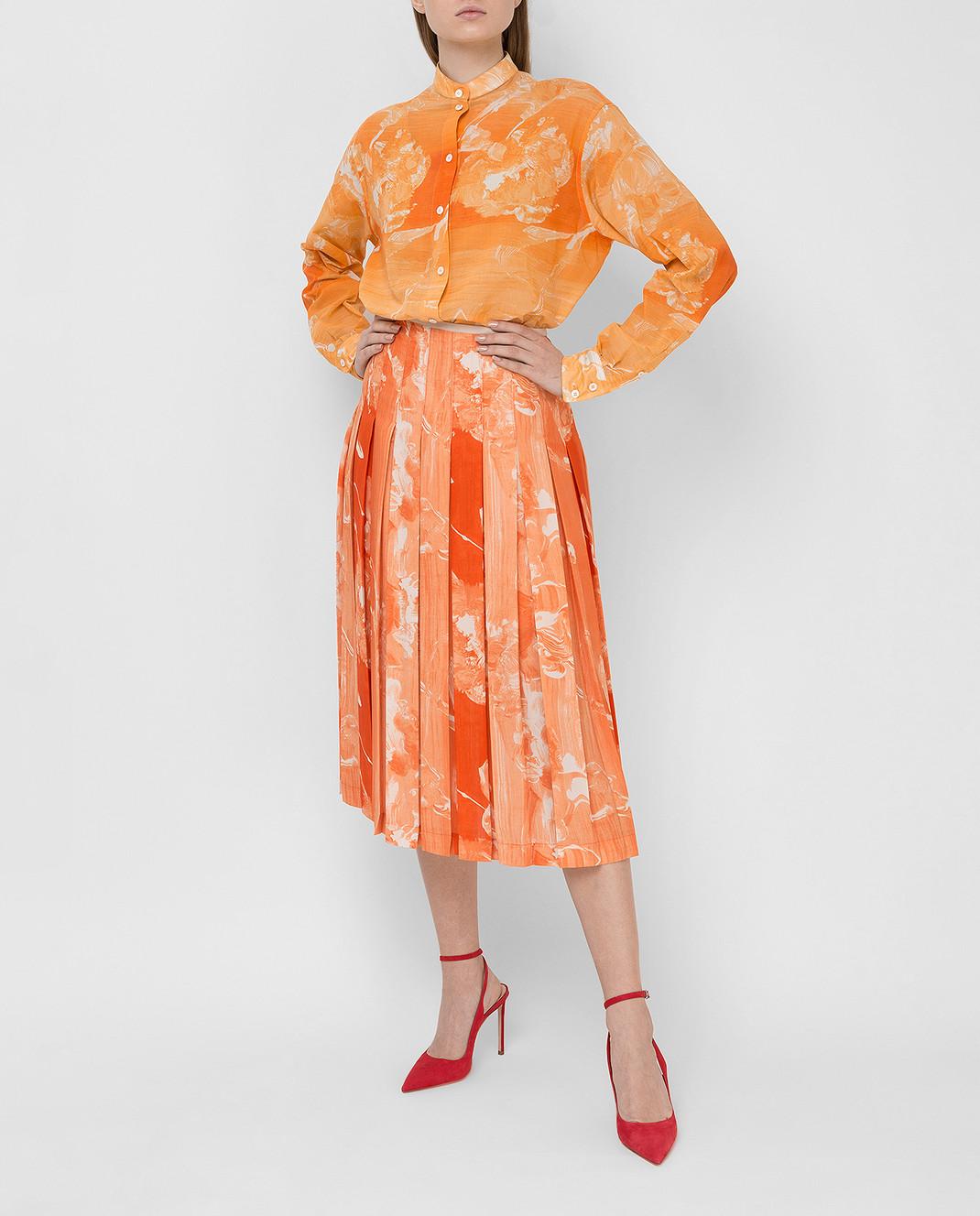 Victoria Beckham Оранжевая рубашка SHLNG1354E изображение 2