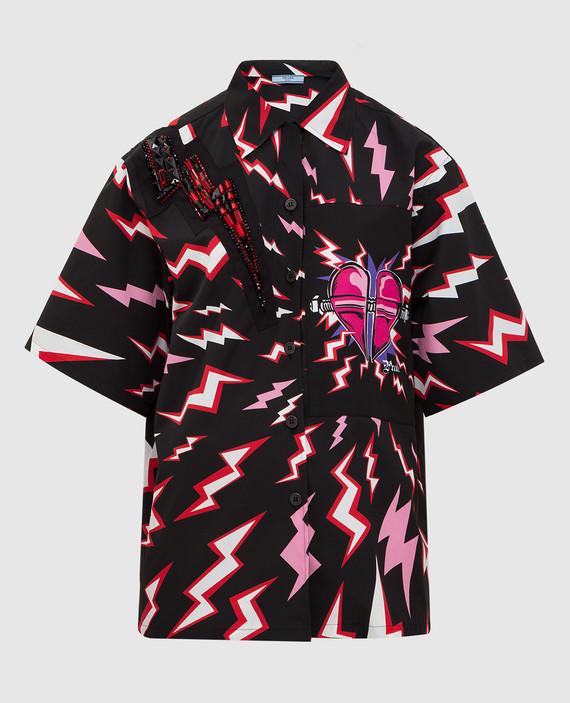 Черная рубашка с кристаллами