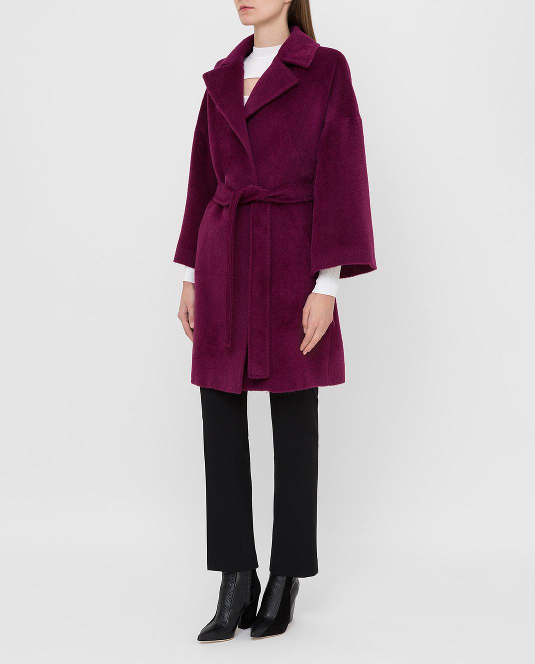 Heresis Светло-фиолетовое пальто из ламы и шерсти K8095 изображение 3