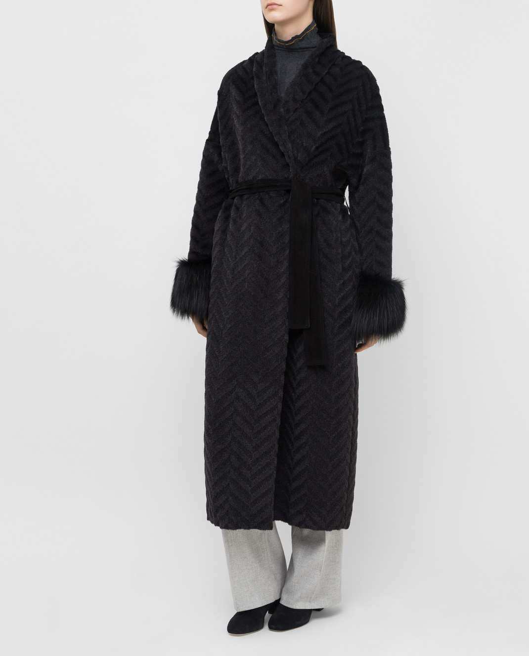 Rindi Черное пальто из альпаки и шерсти с мехом лисы 267TE017 изображение 3