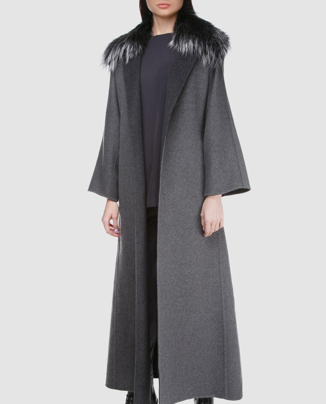 Rindi Серое пальто с мехом 261TE017 изображение 2