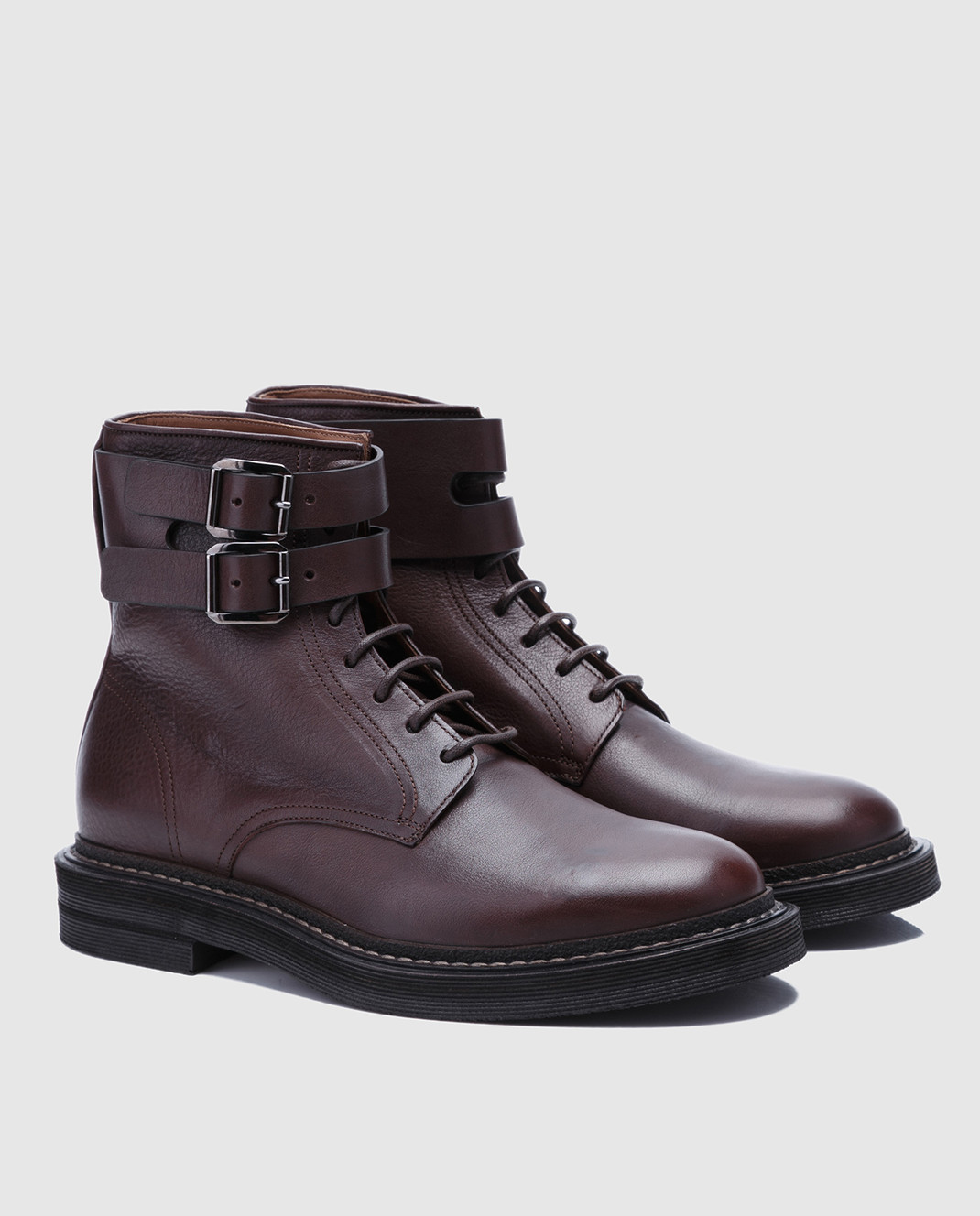 Brunello Cucinelli Темно-коричневые кожаные ботинки MZUSPFU174 изображение 2