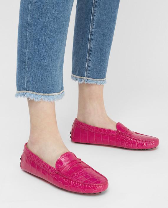 Розовые кожаные мокасины hover
