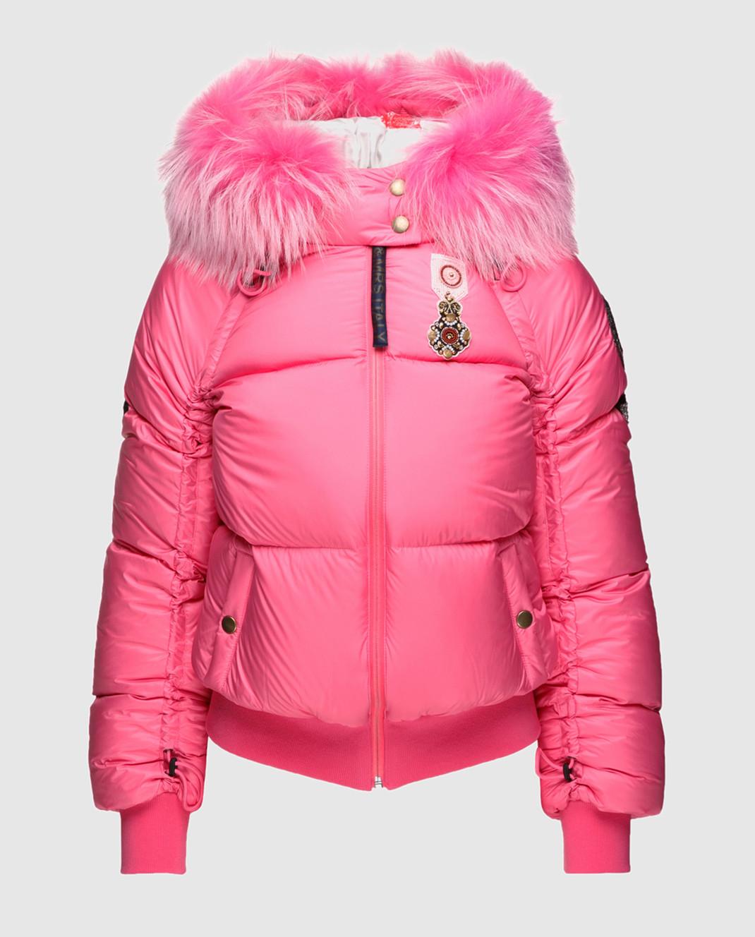 Mr&Mrs Italy Розовый пуховик с мехом уссурийского енота изображение 1