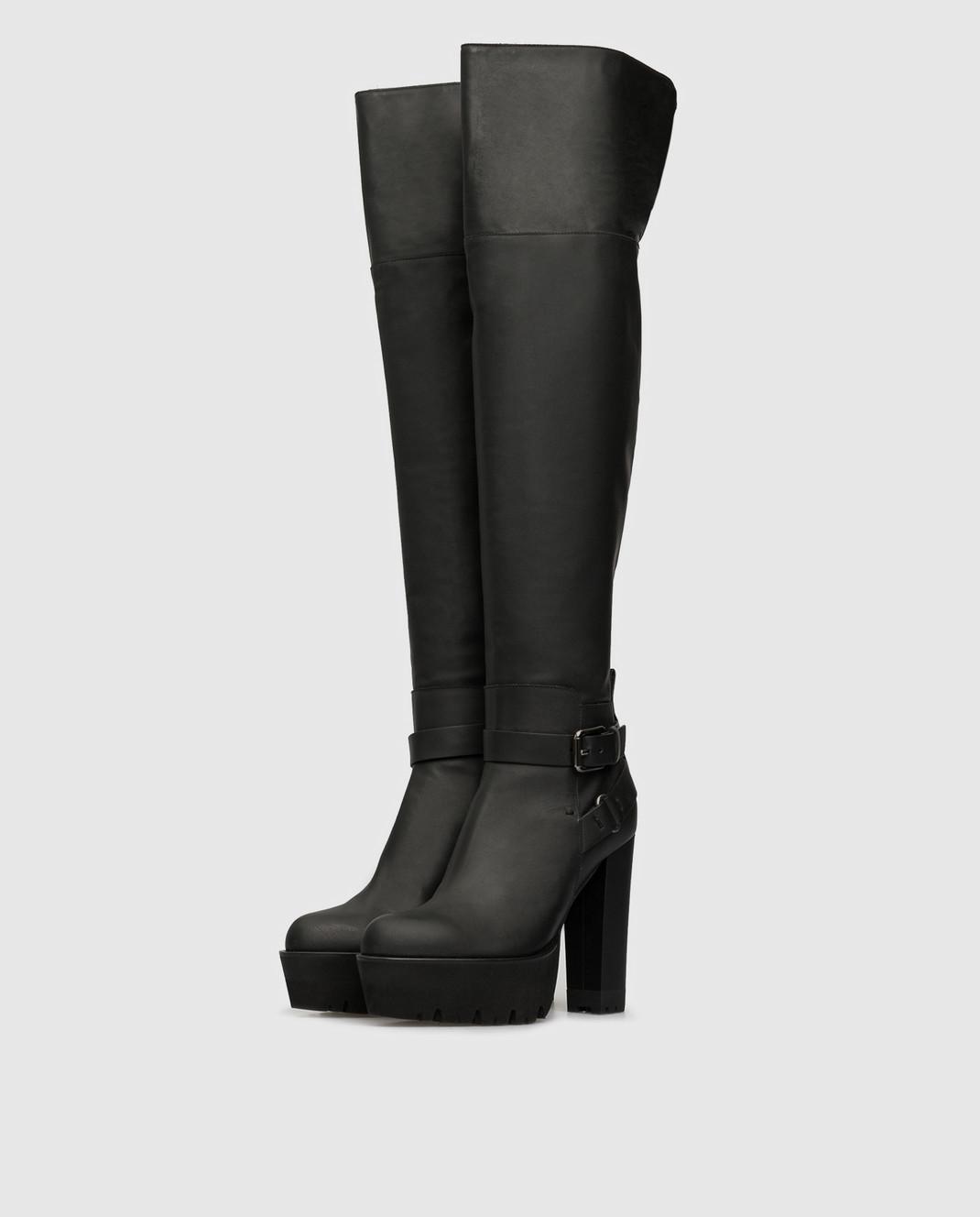 Ermanno Scervino Черные кожаные ботфорты D258Z473GOM изображение 3