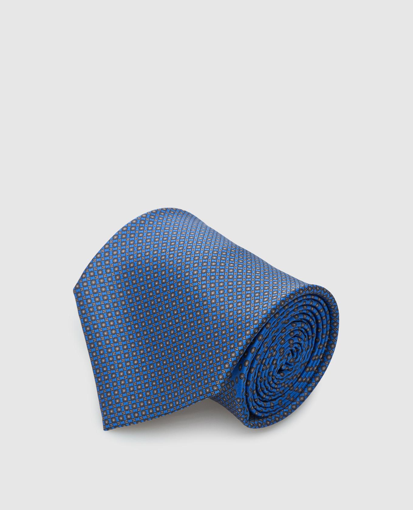 Синий шелковый галстук в узор Stefano Ricci