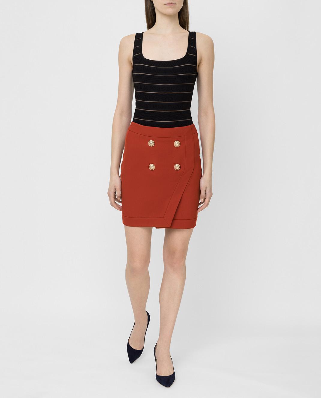 Balmain Терракотовая юбка TF14046V093 изображение 2
