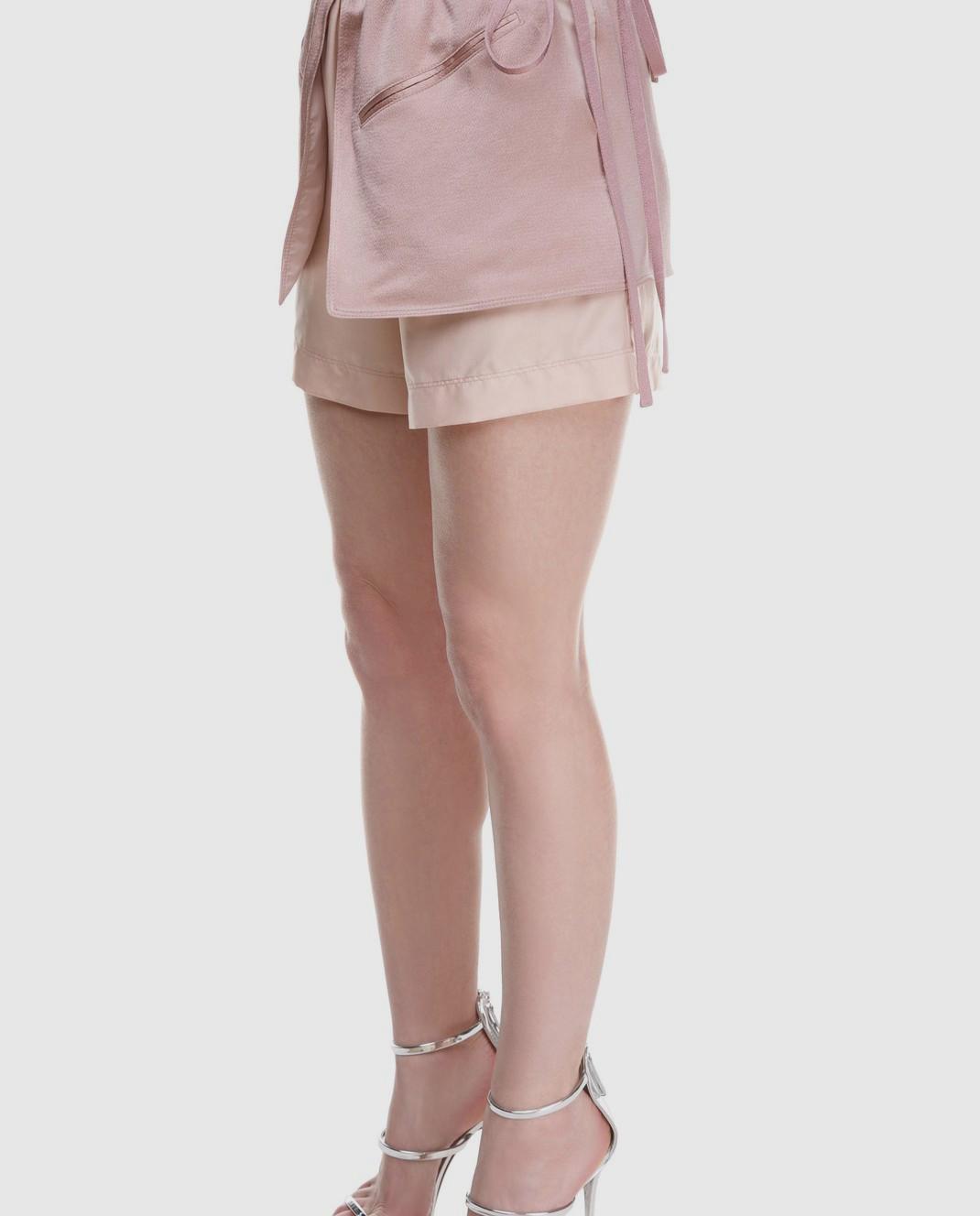 Valentino Розовые шорты из шелка и хлопка PB0RF0N537C изображение 3
