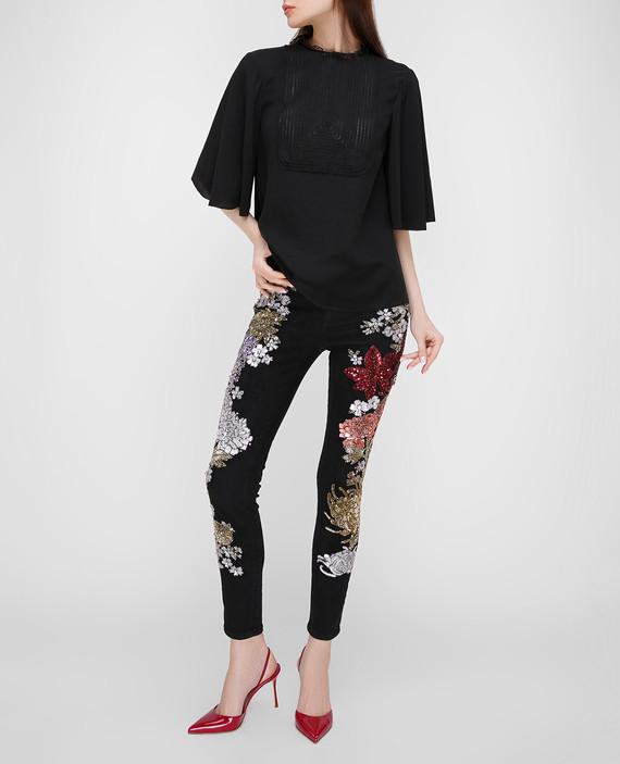 Черные джинсы с пайетками hover