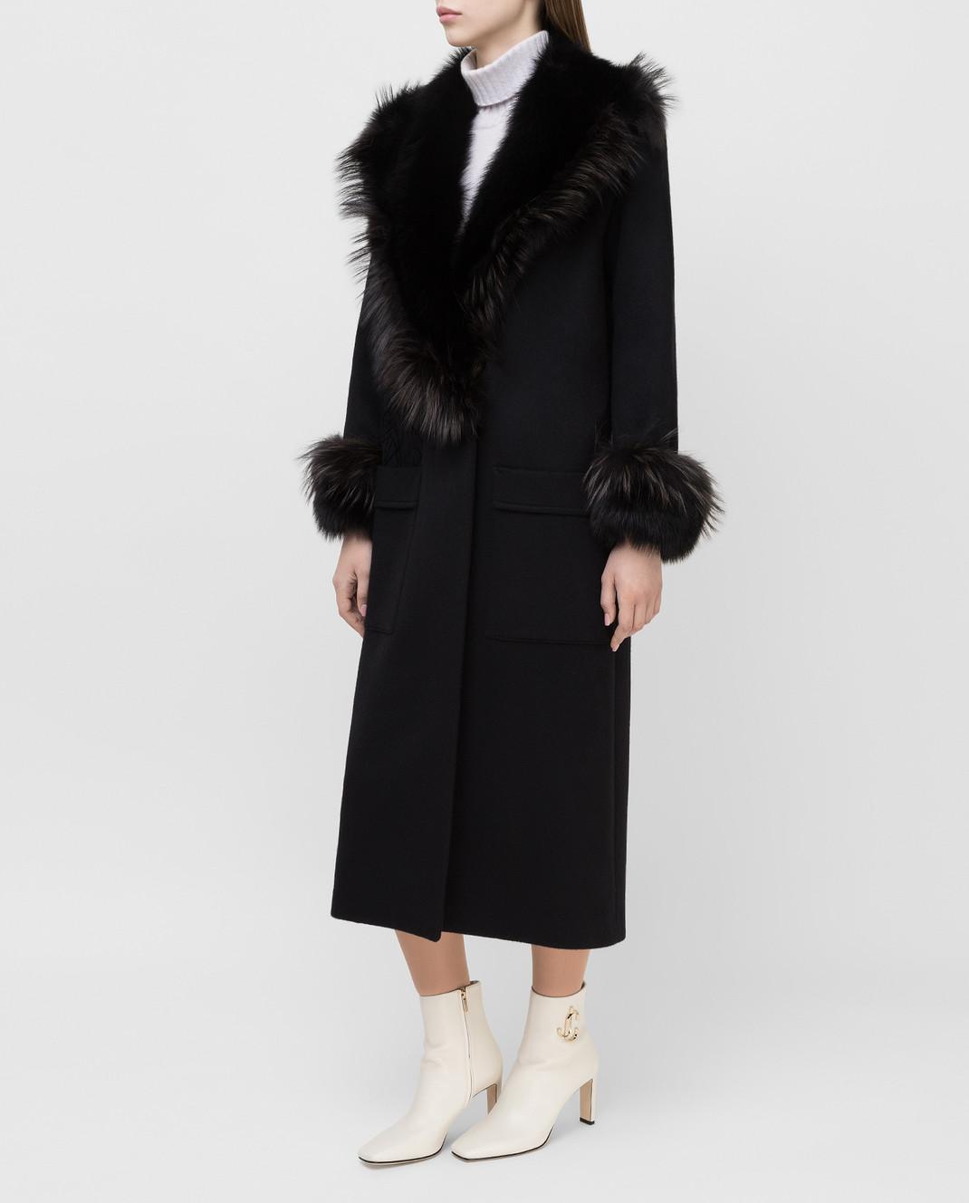 Rindi Черное пальто из кашемира с мехом лисы 277TE017 изображение 3