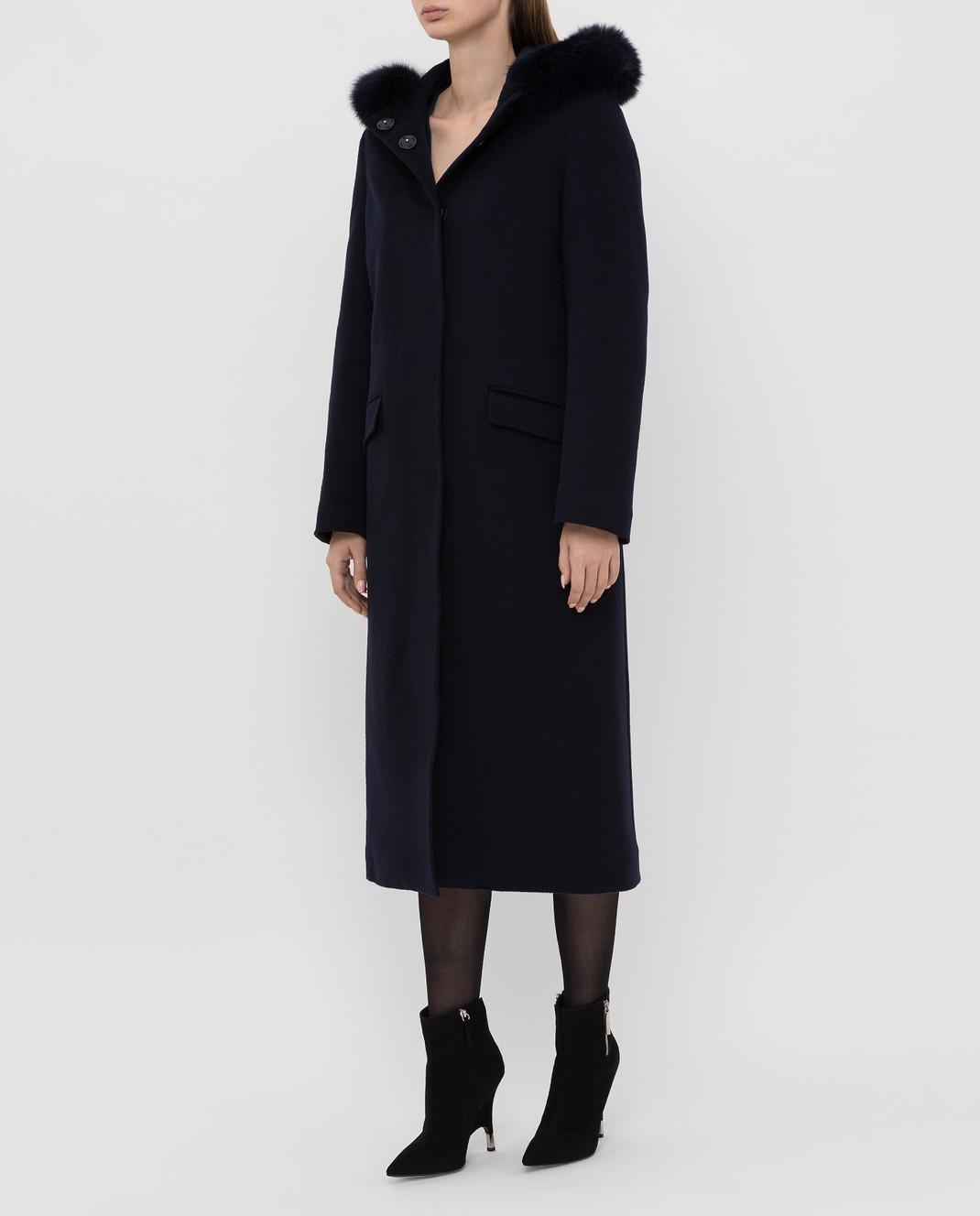 Heresis Темно-синее пальто из шерсти изображение 3