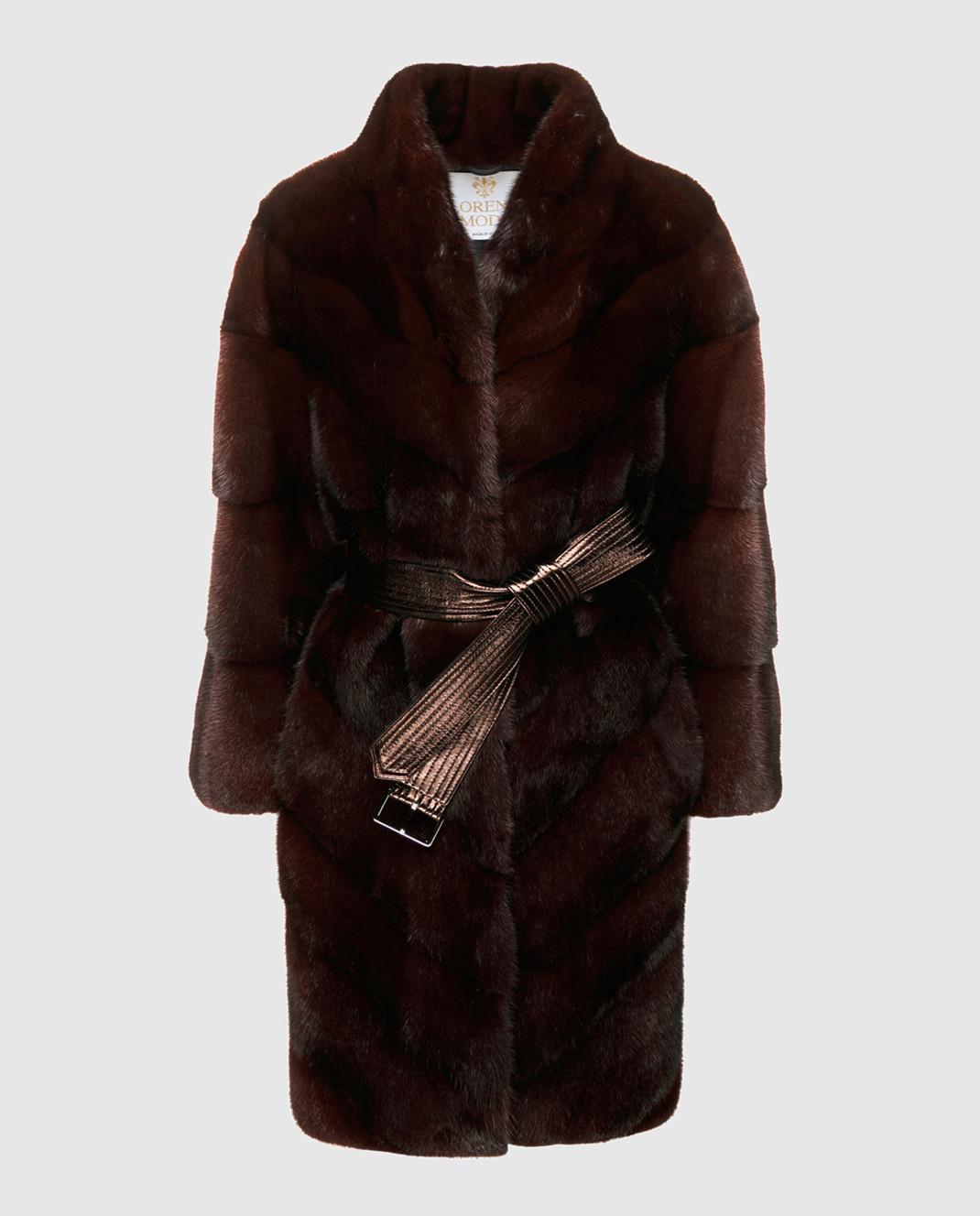 Florence Mode Бордовая шуба из меха норки с поясом 18N139RED